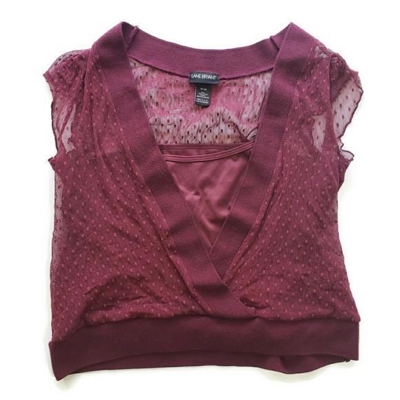 469fcdcffb9a65 Lane Bryant Tops - Lane Bryant Maroon Shirt Layered Lace